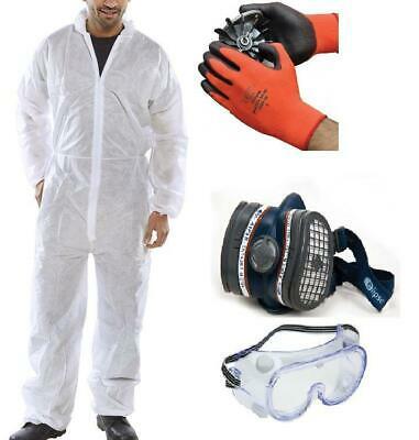 Basic Paint Spraying PPE Safety Kit - Overall, MASK, Goggles, Gloves
