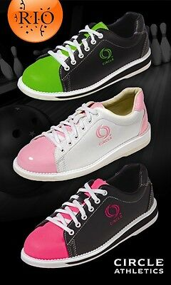 New Womens Circle Rio White/Pink Bowling Shoes Size 9.5