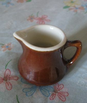 """HALL MARKED U.S.A. POTTERY MINATURE 2 1/2"""" TALL CREAMER/PITCHER COFFEE BROWN"""