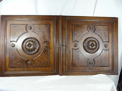 Pair of French Antique Walnut Wood Architectural large Panels Doors
