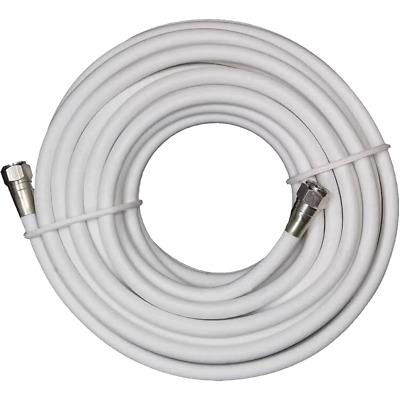 RG6 Coaxial Digital Cable Satellite TV VCR Video Wire Coax Antenna White 50 FT