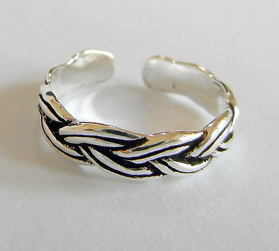 Sterling Silver (925) Adjustable  Rope  Pattern  Toe Ring  !!     Brand New !!