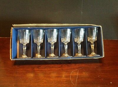 5cl Vintage Crystal Cordial Set Of 6 Cristal Taille Glasses 24 Percent Lead