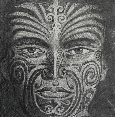 nz tane maori kiwi new zealand warrior of forest tattoo face 500mm canvas