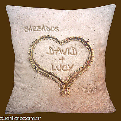 "PERSONALISED Holiday Honeymoon Beach Names Place Year  16""  X 16"" Cushion Cover"