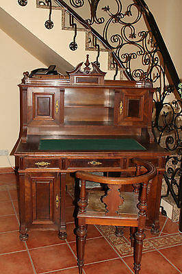 gr nderzeit jugendstil schreibtisch eiche massiv vor 1900 unrestauriert. Black Bedroom Furniture Sets. Home Design Ideas