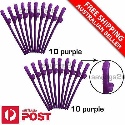 20 x Purple Willy Penis Pecker Dicky Straws. Hens Bachelorette Party Games