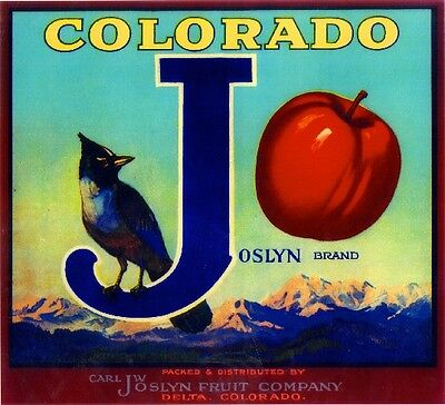 Cedaredge Delta Co. Colorado J Joslyn Bird Apple Fruit Crate Label Art Print