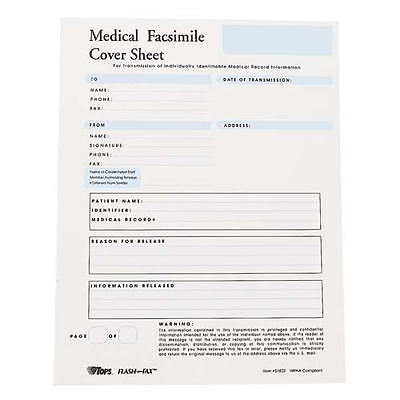 Flash Fax HIPAA Medical Fax Cover Sheets, 8 1/2 x 11, 100 Per Pad (TOP51822)