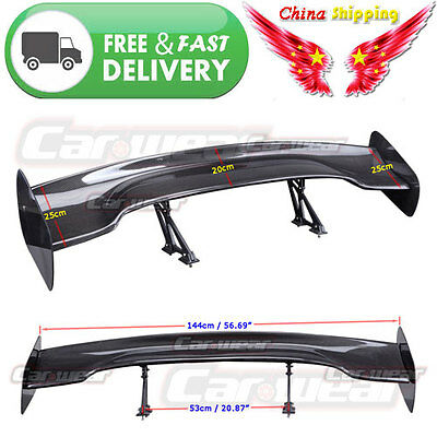 "For ACURA 57"" 3D 3DI GT JDM Universal  Real Carbon Fiber Rear Roof Spoiler Wing"