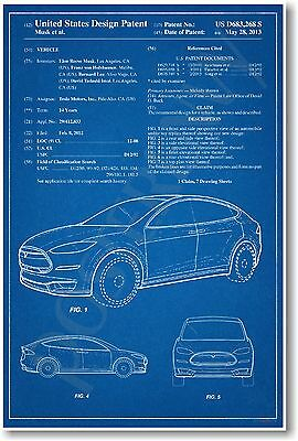 Tesla Model X Patent - NEW Famous Invention Patent Poster (fa131)