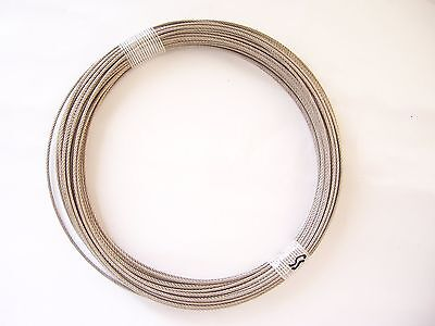 "304 Stainless Steel Wire Rope Cable, 1/16"", 7x7, 100 ft coil, Made in Korea"