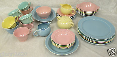 36 Pc Set Luray Pastels Vintage Dinnerware Pink Green Blue Yellow Mid Century