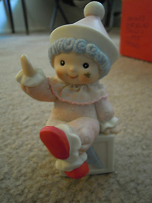Small Clown Figurine in Light Pink Outfit  on Letter Block for Child's Room
