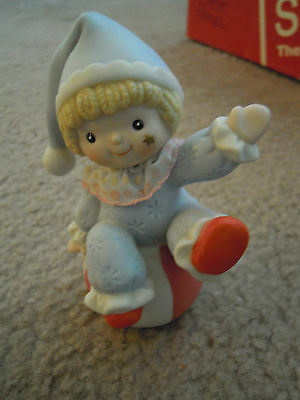 Small Clown Figurine in Light Blue Outfit  on Red & White Ball for Child's Room