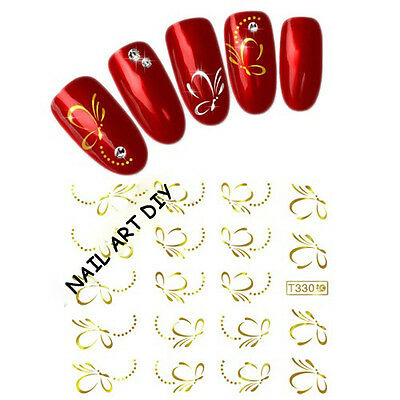 Nail Art-Decals Water Transfer Sticker FARFALLE D'ORO-Adesivi Unghie-Buy 3 get 4