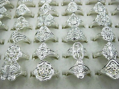 20Pcs/lot Wholesale Jewelry Lot Mixed Style Silver Plated Vintage Ring Free J109