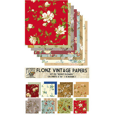"Paper 24sh 6""x6"" # Bright Flowers Vintage # FLONZ 051 Craft Scrapbooking"