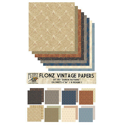 "Paper 24sh 6""x6"" # Damask Patterns Vintage # FLONZ 057 Craft Scrapbooking"