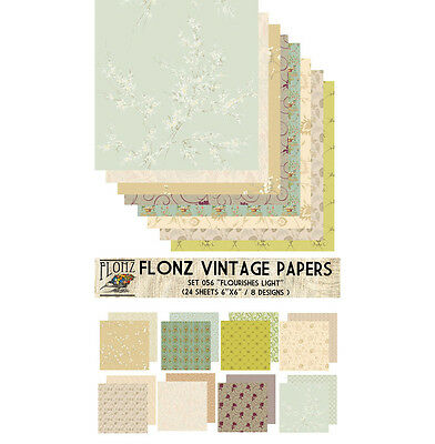 "Paper 24sh 6""x6"" # Flourishes Light Vintage # FLONZ 056 Craft Scrapbooking"