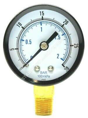"Co2 Low Pressure Replacement Gauge 0-30 Psi 1/4"" Npt Rh Threads Home Brew"