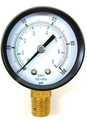 "Co2 Low Pressure Replacement Gauge 0-100 Psi 1/4"" Npt Rh Threads Home Brew"