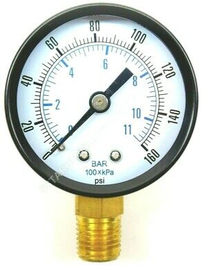 """Co2 High Pressure Replacement Gauge 0-160 Psi 1/4"""" Npt Rh Threads Home Brew"""