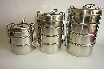 Tiffin Lunch Box  Stainless Steel  From India -Well Made Original Design