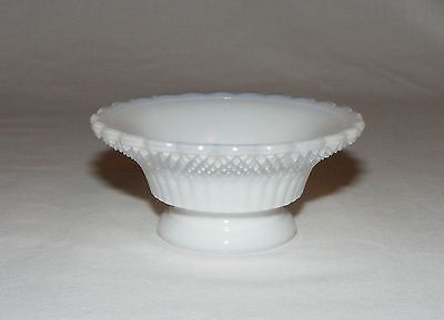 ANTIQUE EARLY AMERICAN PRESSED OPAL GLASS BEADED STAR OPEN SALT CELLAR   c. 1870