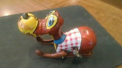 Vintage Tin Wind-up Pluto Mechanical Hopping Doggie Toy by Mikuni (?)of Japan