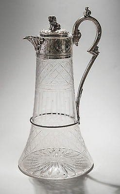 Antique Victorian Etched Glass Claret Jug/Decanter with Silver Plated Lion Mount