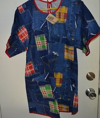 Vintage MATCH MATES Apron NOW! DESIGNS SAN FRANCISCO Denim Look Patchwork NOS