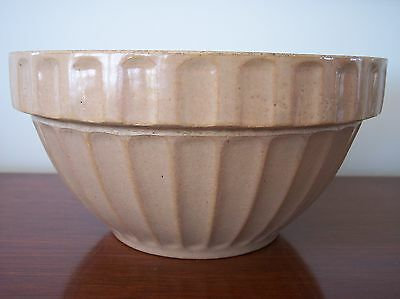 Medium antique stoneware MIXING BOWL marked *6 or 9. bottom, Brown salt glaze?