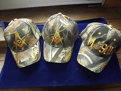 3 Different Embroidered Masonic Ball Style Caps Camouflage Mason