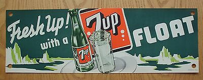 """Vintage 1950""""s  Fresh up With  7 UP Litho Fountain Paper Banner NOS"""