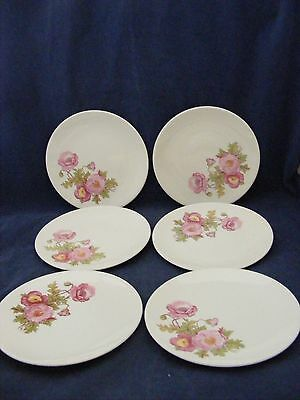 """6 Knowles Large Pink Wild Rose Green Stem 6.25"""" Bread Dessert Plates Gently Used"""