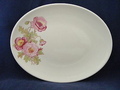 """Knowles Large Pink Wild Rose Green Stem 12.75 x 10"""" Serving Platter Gently Used"""