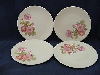 """4 Knowles Large Pink Wild Rose Green Stem 6.25"""" Bread Dessert Plates Gently Used"""