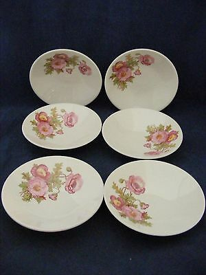 """6 Knowles Large Pink Wild Rose Green Stem 5.5"""" Fruit Bowls Gently Used"""