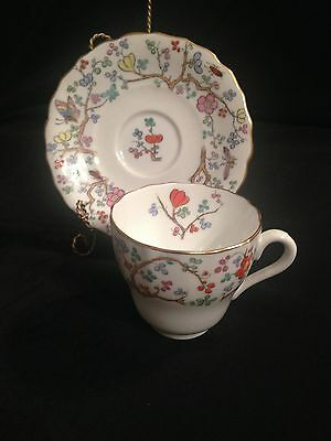 SPODE SHANGHAI DEMITASSE CUP SAUCER BUGS, BRANCHES, BUTTERFLIES, & FLOWERS EXC