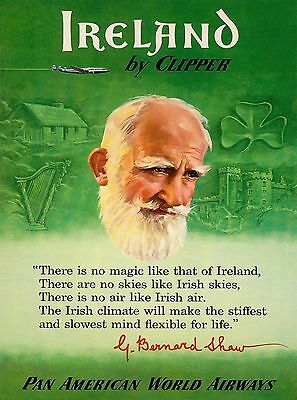 Ireland by Clipper Irish United Kingdom Vintage Travel Advertisement Poster