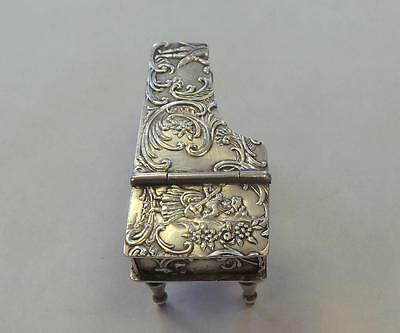 Antique Gilded Sterling Silver Repousse Miniature Piano ca. 1900