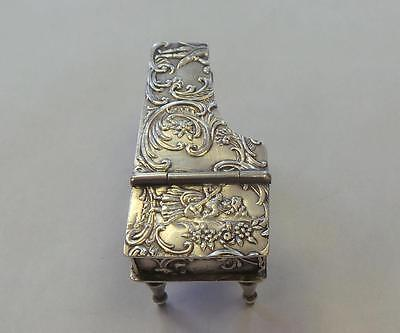 Antique Silver Repousse Miniature Piano ca. 1900