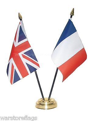 UK & AND FRANCE Friendship TABLE FLAGS with GOLDEN BASE French british flag