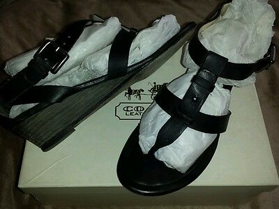 COACH VIVIAN BLACK WEDGE GLADITOR STYLE SANDALS 100% LEATHER SIZE 6.5