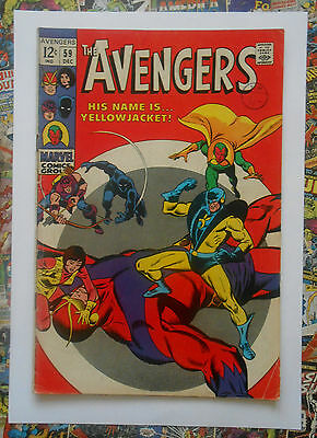 AVENGERS #59 - DEC 1968 - 1st YELLOWJACKET APPEARANCE! - FN (6.0) CENTS COPY!