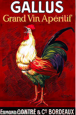 Gallus Grand Vin Rooster French France Vintage Wine Advertisement Poster Print