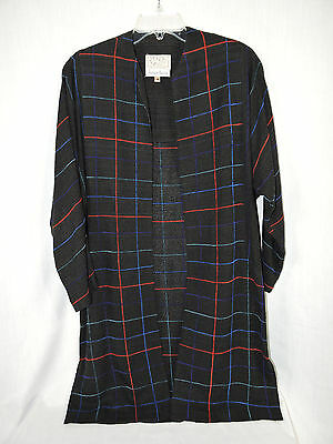 fb75ce11794a5 ZONDA NELLIS Black Red Blues Handwoven Long Jacket Size XS Rayon Neiman  Marcus
