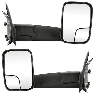 Pair Left+Right Manual Towing Mirrors for 02-09 Dodge Ram 1500 2500 3500 Pickup