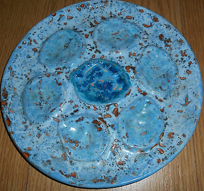 OYSTER PLATE BLUE FOAM FRENCH MAJOLICA MARKED